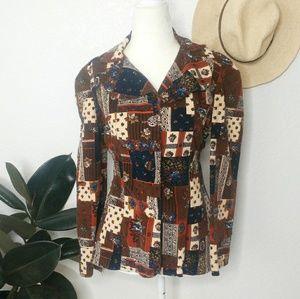 70s Vintage Boho Corduroy Patch Work Blazer Jacket